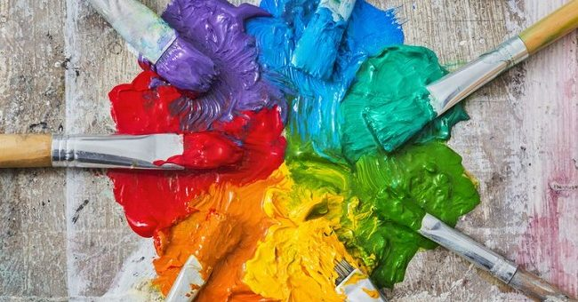 Acrylic paint color mixing recipes : primary and Secondary color Mixing,Black Blue Red White Yellow Green Red Purple Brown and Different Color together.